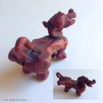 "11. Duckdog, clay and oil paint, 2.5"" x 5"" x 2"", $85"
