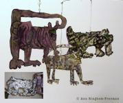"1. Jaguar, Paper/string/steel/acrylic, 36"" x 28"", $300.00 (orig. $995.00)"