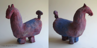 "5. Lavendar Horse,  Clay with oil paint, 7.5"" x 8"" x 4"", $300.00 (orig. $850.00)"