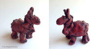 "9. Little Hippo, clay with oil paint, 4.5"" x 4.5"" x 3"", $95"