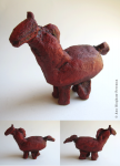 "15. Mare (prototype), clay with oil paint, 4"" x 6"" x 2"" (tail repair - sold as is), $50"