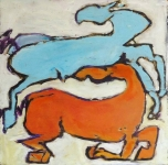 Blue-and-Orange-Horses-oil-wood-wire-12x12