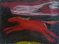 Small-Red-Horse-paper-acrylic-pastel-string-6x8