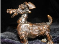 "Dog in May, bronze, 3.4"" x 3.5"" x 2.5"", edition of 25, $1,090"