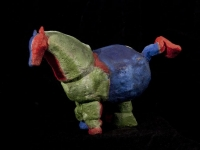 """Horse with Red Head, clay with oil paint, 8"""" x 7.5"""""""