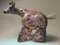 """Purple Long Neck, glazed clay with acrylic, 6"""" x 8"""" x 4.5"""""""