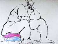 "Woman Pink & Blue, ink on paper, 22"" x 30"", $150"