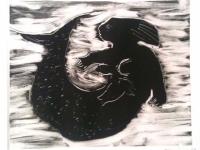"""Dark Mermaid, relief print, 10"""" x 12"""", Sold"""