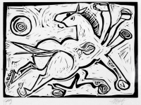 """Proof Horse 1, 13"""" x 18"""", relief print on 22"""" x 30"""" paper, $300"""