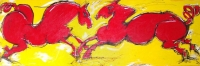 "2 Red Horses, 18"" x 56"", wood acrylic ink, SOLD"