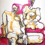 Ann BinghamFreeman, Man & Woman with Magenta, ink & acrylic mounted with bamboo, 50 x 43 in. Courtesy of Kristy Read