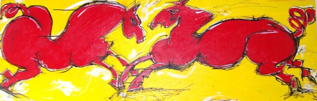 "2 Red Horses, 18"" x 56"", wood acrylic ink SOLD"